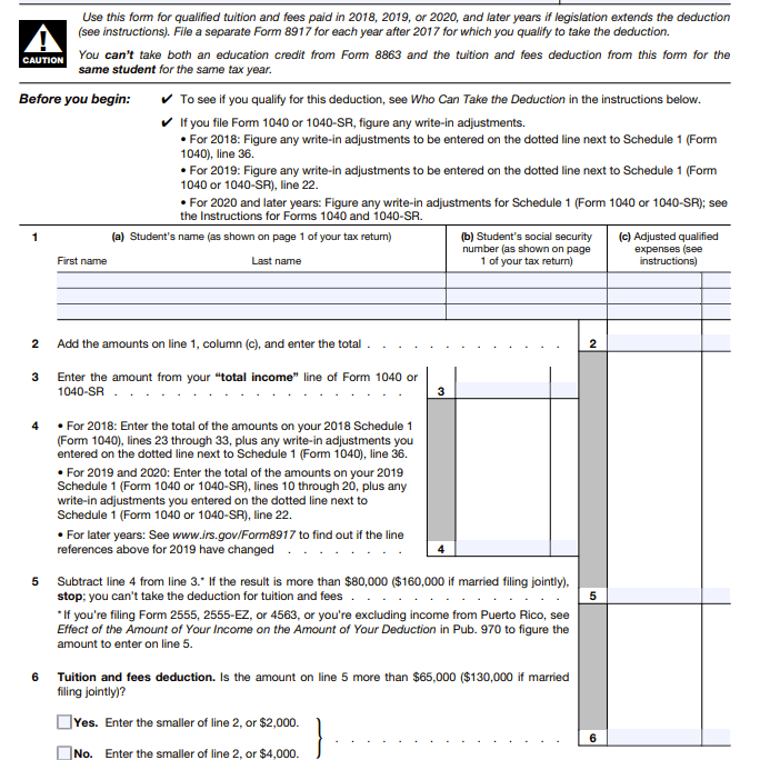 Form 8917: Tuition and Fees Deduction