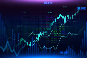 overlay of stock numbers, financial graphs and charts