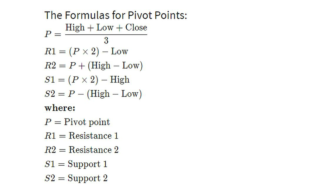 pivot point calculations using the prior day's high, low and close