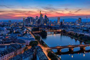 Frankfurt Main Skyline at Dusk