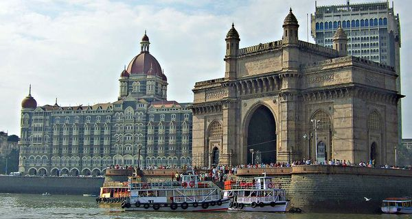 Gateway of India Monument and Taj Mahal Palace and Towers Hotel in Mumbai India