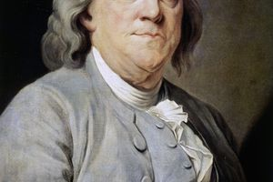 Portrait of Benjamin Franklin (Boston, 1706-Philadelphia, 1790), scientist and politician, ca 1785, painting by Joseph Duplessis Siffred