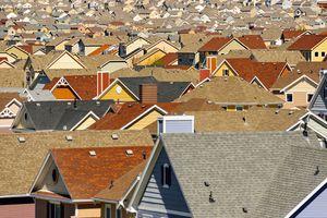 Rooftops in suburban development, Colorado Springs, Colorado