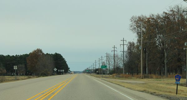 Telephone poles along US Route 64 in Arkansas.