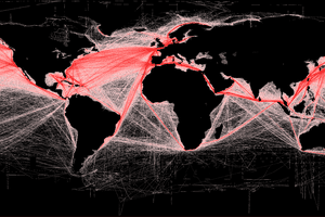 This map of shipping routes illustrates the relative density of commercial shipping in the world's oceans.