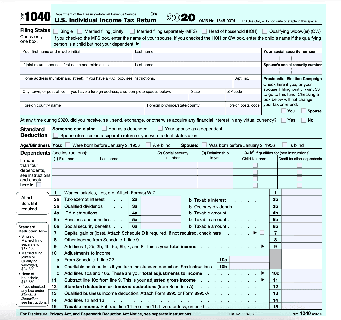 Form 1040 Page 1.