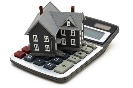 Model of a house on a calculator