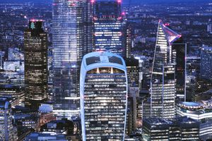 Bird's eye view of London financial district at night