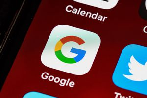 Closeup of the Google App icon on a smartphone.