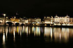 Basel on the Rhine at Night -- Basel, Switzerland