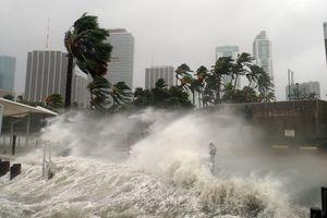 Hurricane Irma crashing into buildings on the coast