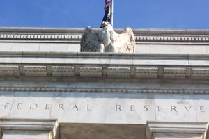 Federal Reserve building with the eagle statue..