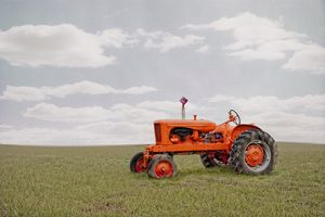 A tractor in a field