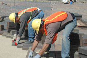 Workers at the Reno Aces baseball stadium in downtown Reno, Nevada