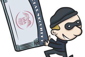 Cartoon burglar holding Social Security card