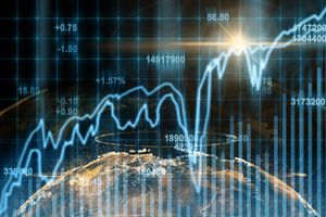 Abstract Planet Earth Particle Over the Stock Market Chart