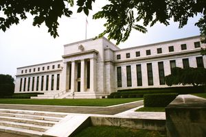 Low angle view of the Federal Reserve in Washington DC.