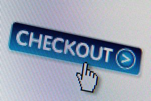 Computer screen, close-up of 'checkout'