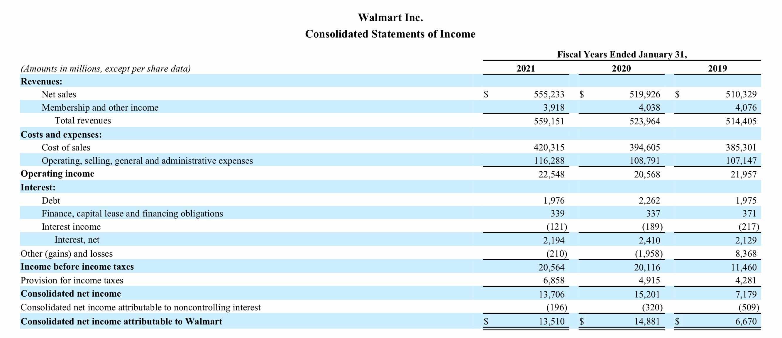 Walmart Income Statement 2020 10K
