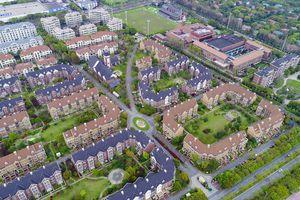 Aerial view of neighborhood housing in suburban Shanghai