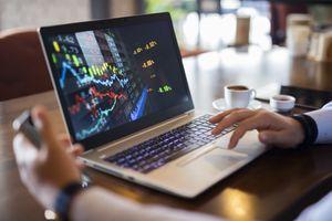 Investor uses laptop to analyze stock market data.