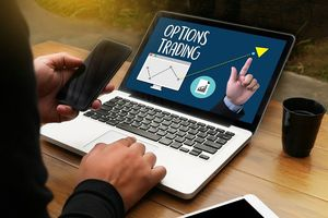 Options trading on laptop