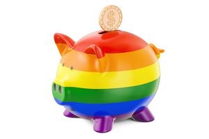 Rainbow piggy bank with gold coin