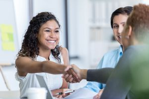 Office Manager Interviews Potential New Employee