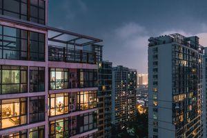 Illuminated residential building.