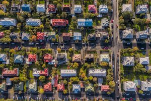 Aerial - Colorful Roof tops