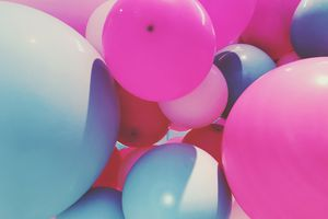 multi-colored balloons bunched together