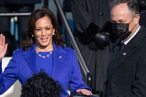 Kamala Harris being sworn in as vice president of the United States