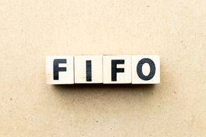Alphabet letter block in word FIFO (Abbreviation of first in first out) on wood background