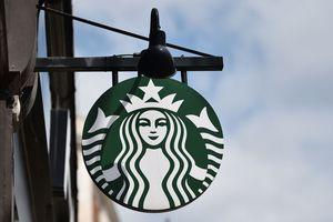 Starbucks company sign with logo