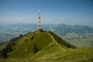telecommunication tower on the hill.