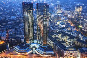 Deutsche Bank in Frankfurt at Dusk, Germany
