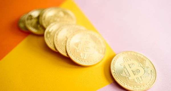 Bitcoins on table