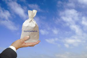 A hand holding a bag that says dividends