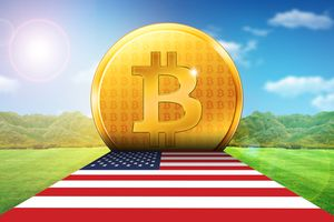 Gold Bitcoin with the flag of the United States.