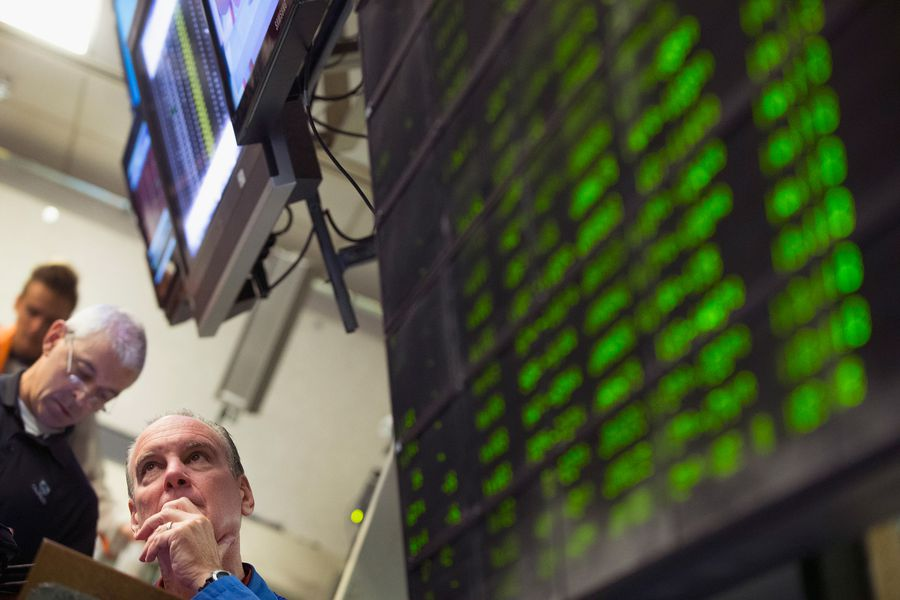 A trader monitors offers in the Standard & Poor's 500 stock index options pit at the Chicago Board Options Exchange