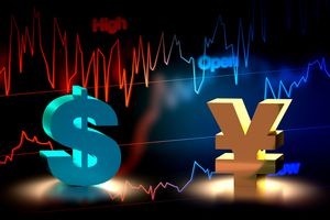 3D rendering of US Dollar and Japanese Yen currency exchange with chart background.