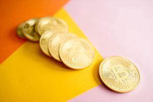 Bitcoins on table