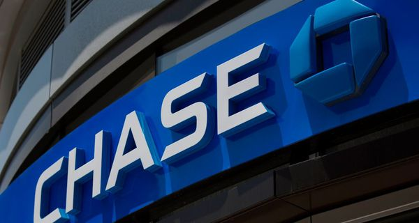 The Chase logo is seen outside a branch in Washington, DC