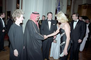 King Fahd with US President Ronald Reagan and future US President Donald Trump in 1985. The US and Saudi Arabia supplied money and arms to the anti-Soviet mujahideen fighters in Afghanistan.