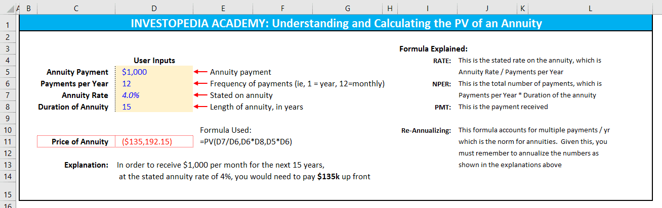 Calculating PV of annuity in Excel