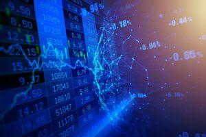 A digital composite image of stock market data.
