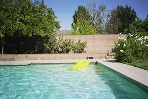 Inflatable raft in swimming pool