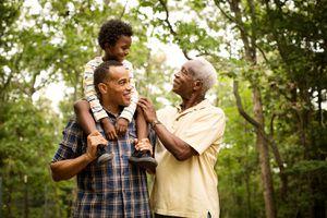 Happy multi-generation family enjoying in forest.
