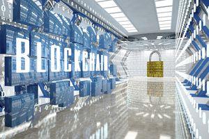 Digital room with padlock and word blockchain.