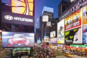 Times Square billboards in New York City show popular brands